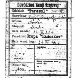 Legitymacja AK Mariana Augustyniaka