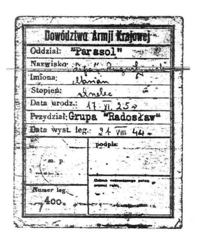 """Legitymacja AK Mariana Augustyniaka """"Lipy"""", skan z kserokopii, udostępnia p.  Dariusz Śladowski"""