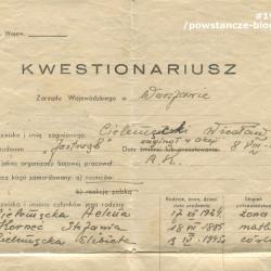 Dokument z archiwum rodzinnego Elżbiety Podbielskiej z d. Cielemęckiej