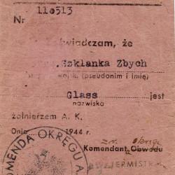Legitymacja Armii Krajowej wystawiona na nazwisko Glass i pseudonim