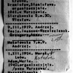 Powstanie Warszawskie - zachowany fragment ewidencji plutonu 1112 Dywizjonu