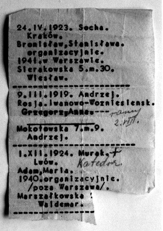 """Powstanie Warszawskie - zachowany fragment ewidencji plutonu 1112 Dywizjonu """"Jeleń"""""""