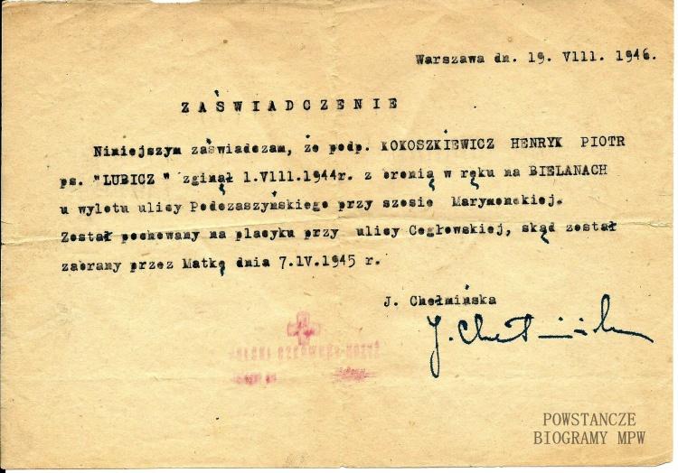 Dokument z archiwum rodzinnego Konrada Kokoszkiewicza