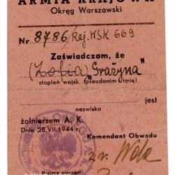 Legitymacja Armii Krajowej należąca do Marii Fresel - Wróblewskiej. Ze zbiorów Muzeum Powstania Warszawskiego, sygn. P/8217
