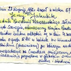 Odręczny zapis nekrologu nie żyjących już siostry i siostrzenicy Jerzego Jakubika z archiwum rodzinnego Haliny i Pawła Buczkowskich