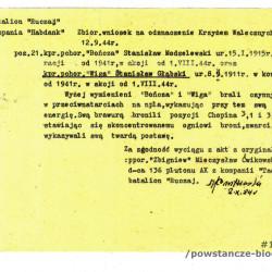 Wniosek o odznaczenie KW - wyciąg z akt. Z  archiwum rodzinnego p. Piotra Głąbskiego, syna Stanisława Głąbskiego