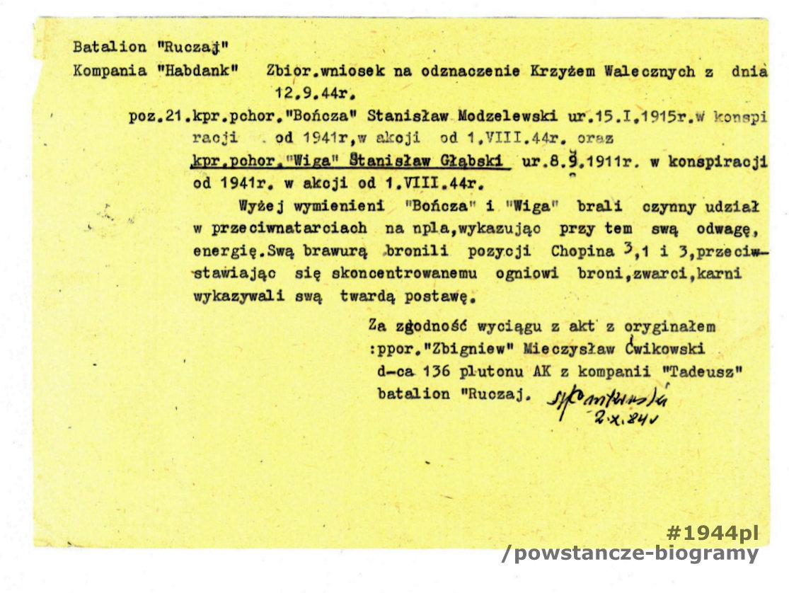 """Wniosek o odznaczenie KW - wyciąg z akt. Z  archiwum rodzinnego p. Piotra Głąbskiego, syna Stanisława Głąbskiego """"Wiga"""""""