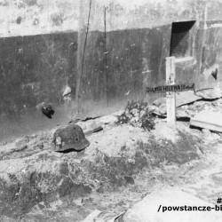 Zdjęcie autorstwa Eugeniusza Hanemana wykonane na Starym Mieście w styczniu 1945 roku - grób sanitariuszki Heleny Sulimy z czasu Powstania Warszawskiego. Fot. ze zbiorów Muzeum Powstania Warszawskiego, sygn. MPW-IP/8093 oraz MPW-IP/8275