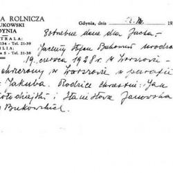 Notatka napisana przez ojca Jacka, Stefana Bukowskiego  i przekazana Annie i Mieczysławowi Bukowskim w dniu 28 sierpnia 1939 roku. Z archiwum rodzinnego Rafała Bukowskiego.