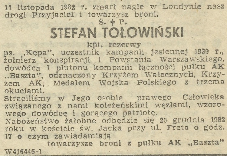 "Nekrolog środowiska ""Baszta"". Nadesłała Anna Skarżyńska."
