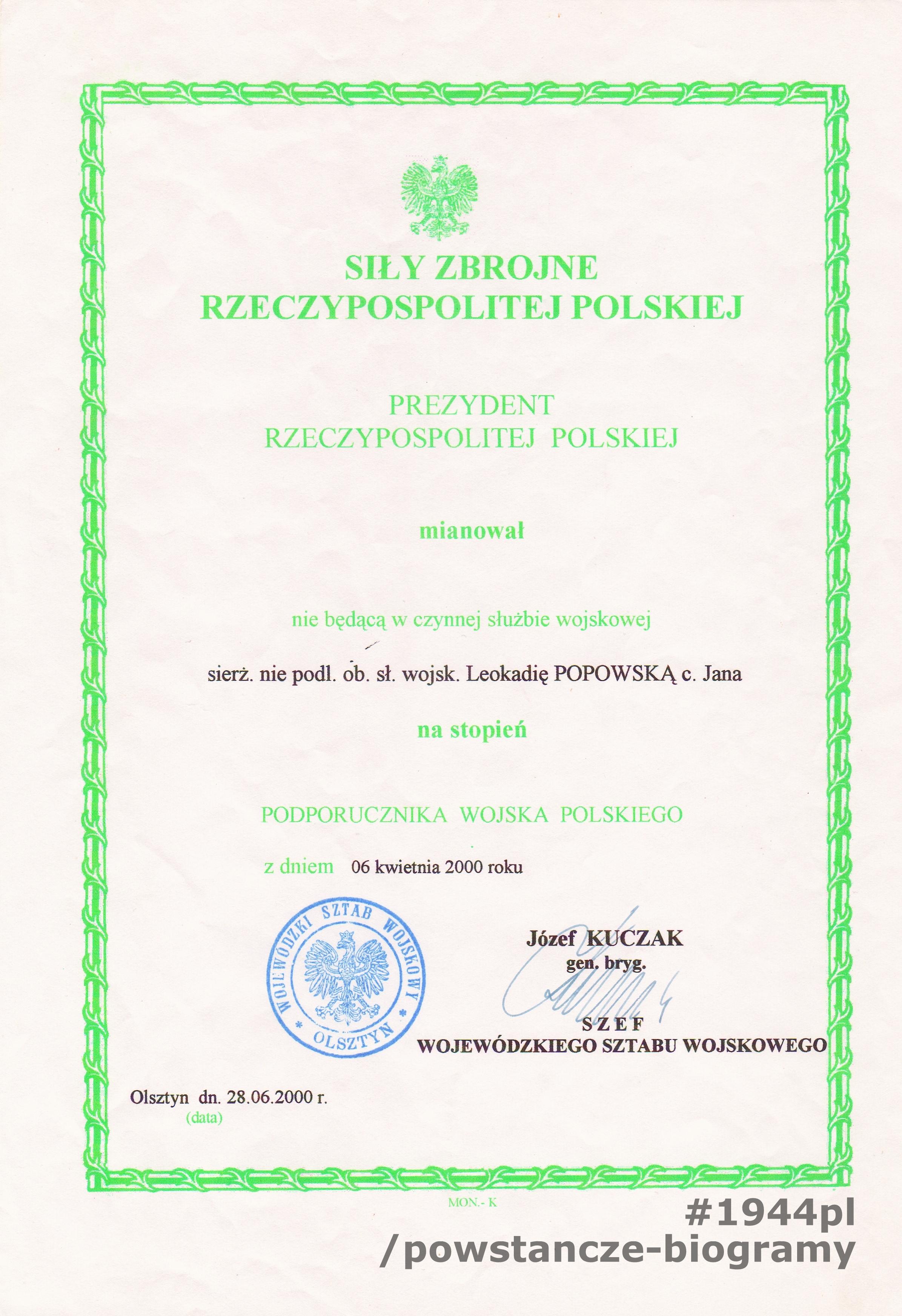 Awans do stopnia podporucznika - 8 IV 2000. Skan udostępnił p. Ryszard Popowski - syn.