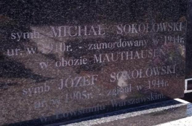 Mogiła symboliczna. Fot. tablicy epitafijnej udostępniła p. Zofia Sokołowska