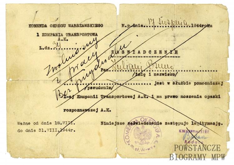 Zaświadczenie z 7.08.1944 r. Ze zbiorów Muzeum Powstania warszawskiego, sygn. P/8594, przekazał syn, p.Cristoforo Cesare Zuliani