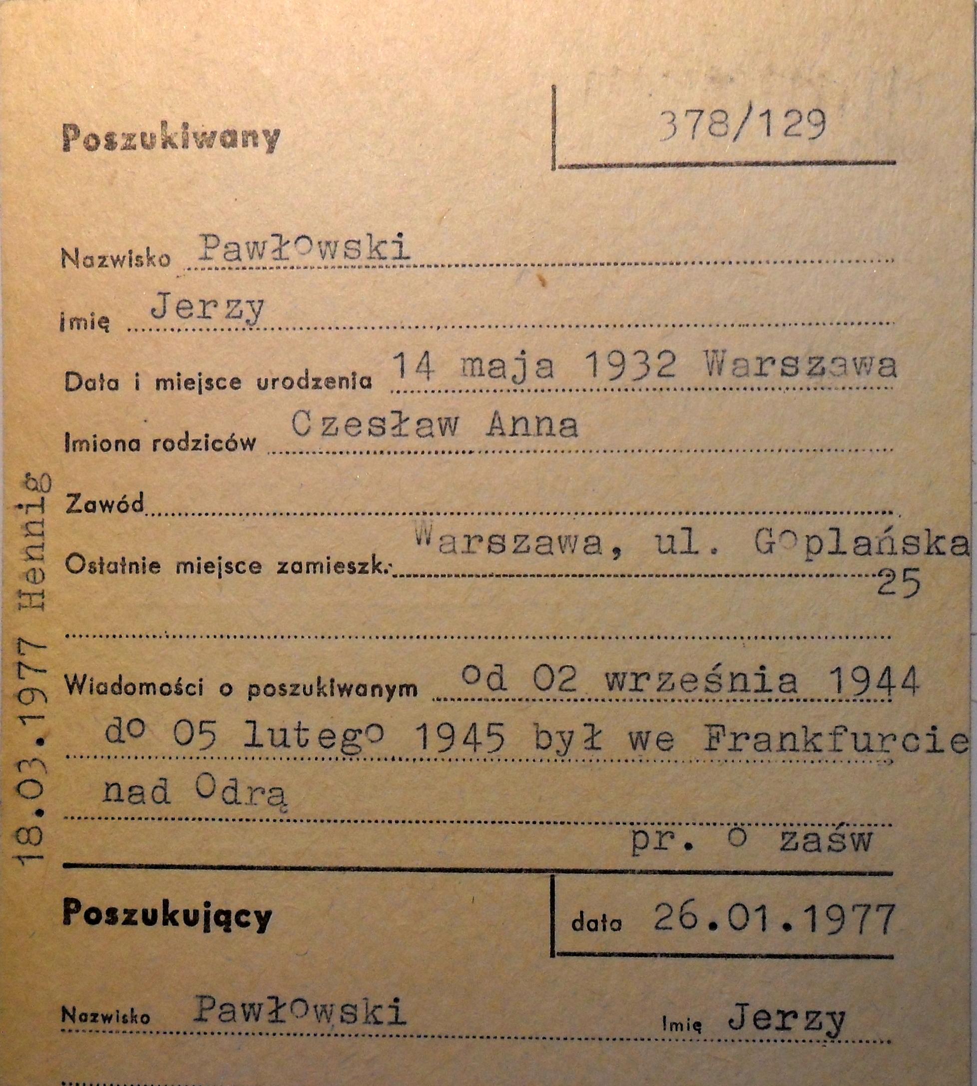 Polski Czerwony Krzyż - kartoteka poszukiwań.
