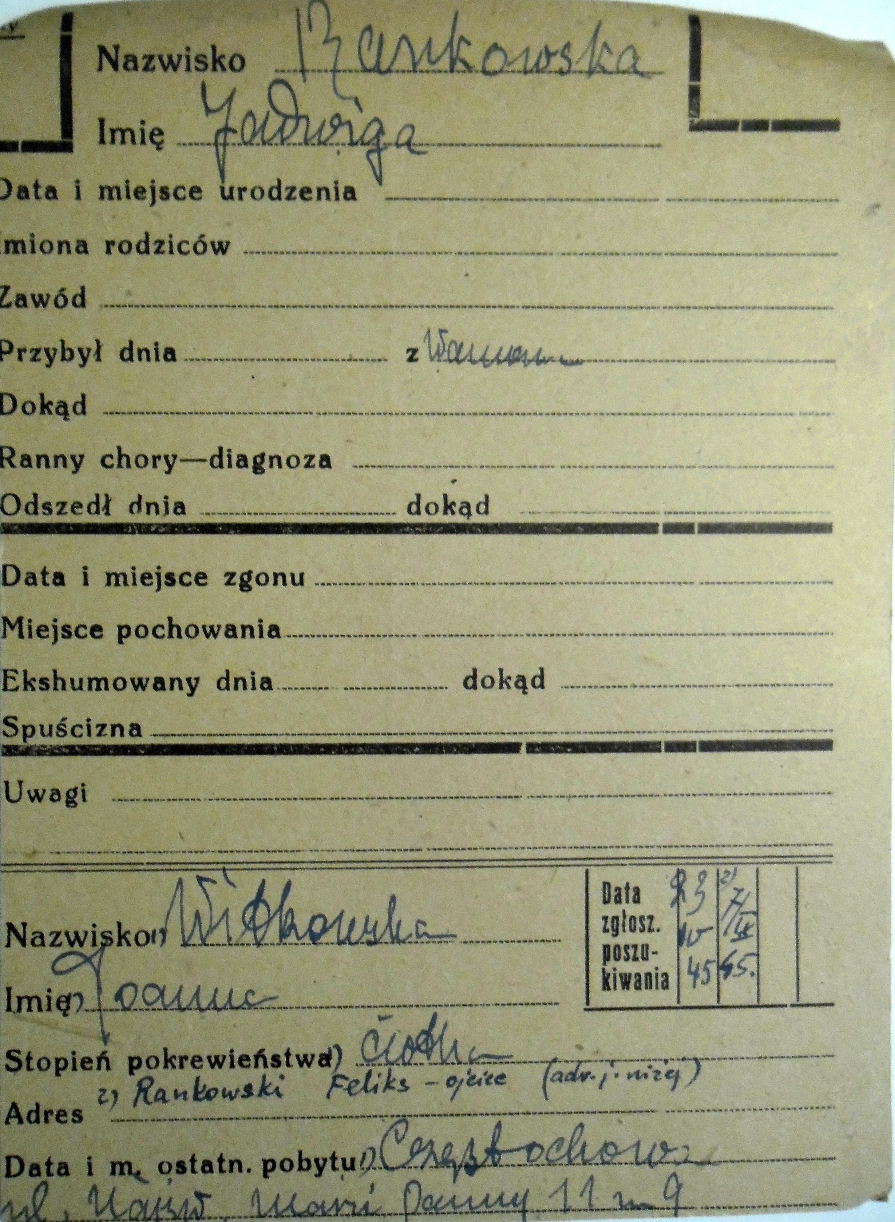 PCK - kartoteka, poszukiwana przez ciotkę Joannę Witkowską jako córka Feliksa Rankowskiego.