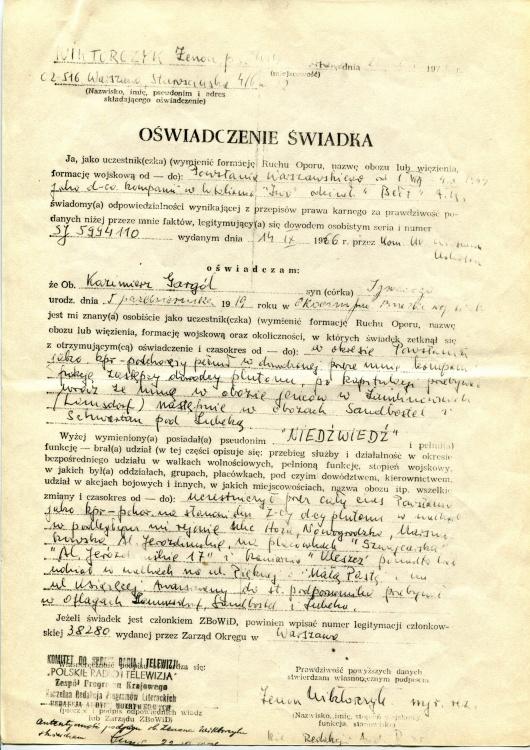 """Oświadczenie Zenona Wiktorczyka ps. """"Wik"""" dla ZBoWiD dotyczące Kazimierza  Gargóla ps. """"Niedźwiedź"""". Z archiwum rodzinnego syna"""