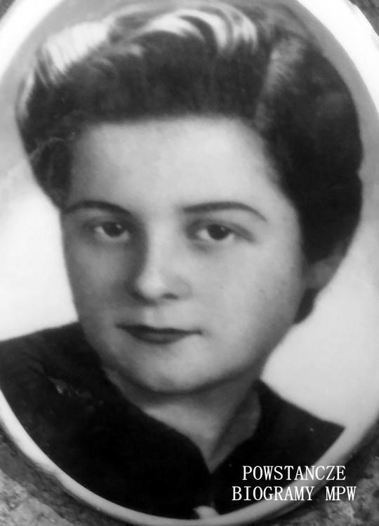 """Sanitariuszka Romana Ludwika Wanat ps. """"Emilia"""" (1923-1944). Fot. portretowa z Powązek Wojskowych. Zdjęcie udostępniła Magdalena Ciok"""