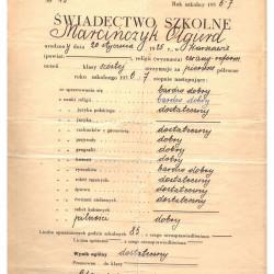 Świadectwo szkole - dokument wystawiony w Prywatnej Koedukacyjnej Szkoły Powszechnej