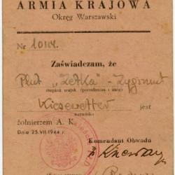 Legitymacja Armii Krajowej nr 10114 wystawiona na nazwisko Zygmunt Kiesewetter plut.