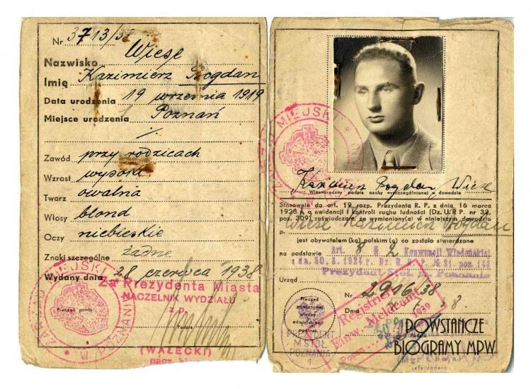 Kazimierz Bogdan Wiese: dowód osobisty wydany przez polskie władze w roku 1938. Ze zbiorów Muzeum Powstania Warszawskiego, sygn. P/4479