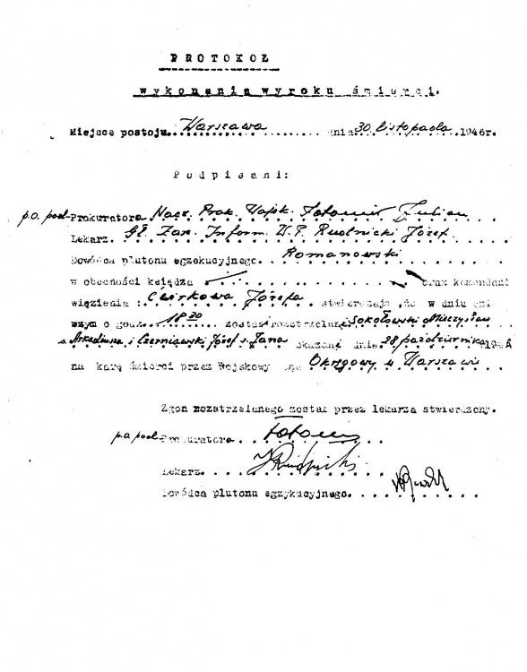 Protokół wykonania wyroku śmierci