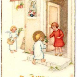 Jedyna pamiątka po Annie de Phull - obrazek z I Komunii Świętej z 18 V 1939 r. z wpisem dla Marii Jadwigi Łodzińskiej.
