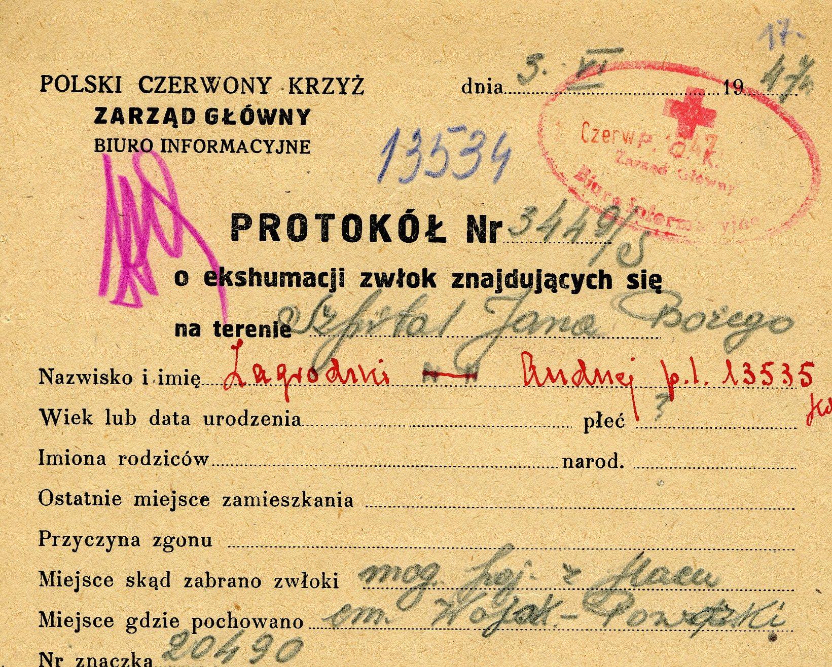 Źródło - Polski Czerwony Krzyż - protokół ekshumacyjny