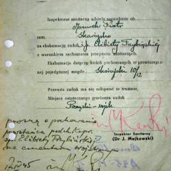 Zezwolenie na eksumację powstańca, kpr. pchor Elżbiety Trzybińskiej wydane przez Inspektora Sanitarnego dr. J. Majkowskiego dla  kpt. Piotra Mazurka