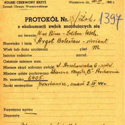 PCK - Lista strat 1397 - protokół ekshumacyjny