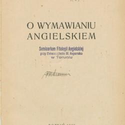 Marian Zygfryd Arend (1895-1944), O wymawianiu angielskim, nakładem autora,  Drukarnia Katolicka, Poznań 1929 r.