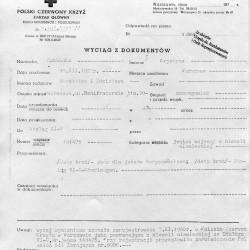 PCK - wyciąg z dokumentów. Kopia - materiały do Słownika Biograficznego Uczestników PW - Pokój Kombatanta