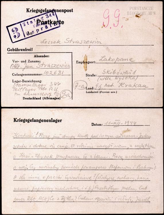 Korespondencja ze Stalagu 344 Lamsdorf. Fot. z  archiwum Pawła Urbanka