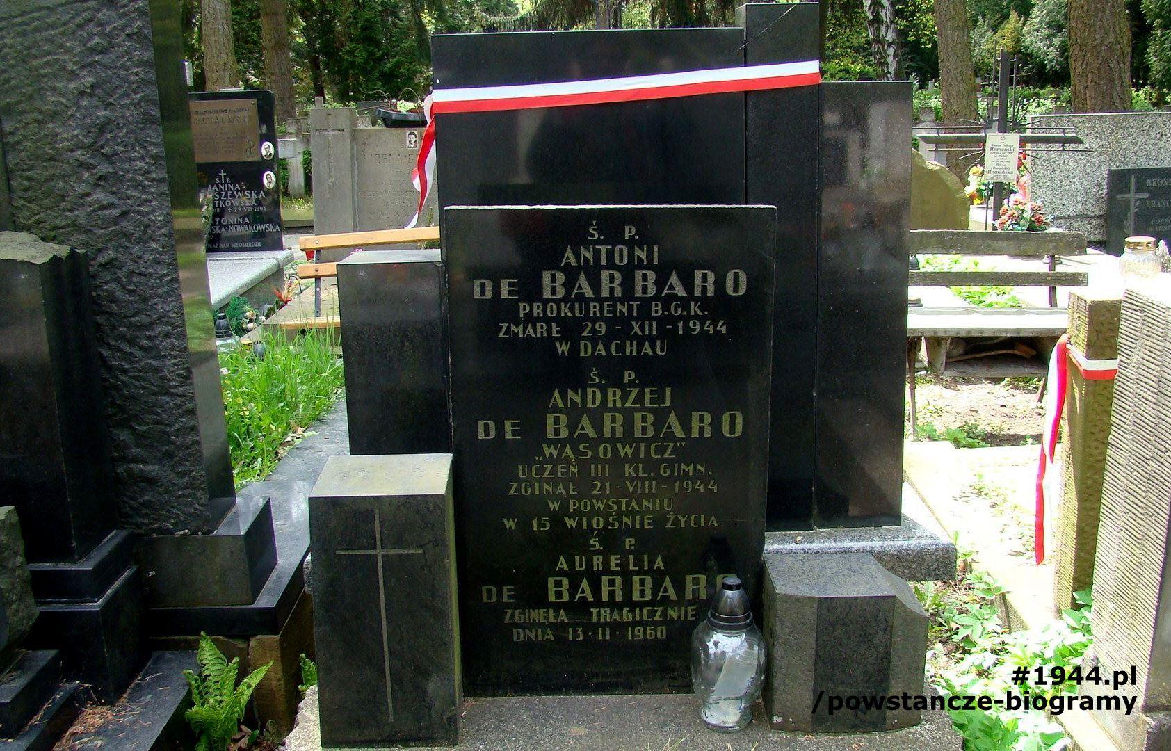 Cmentarz Powązki Wojskowe - grób Antoniego, Aureli i Andrzeja de Barbaro. Fot. udostępnił Jan Wawszczyk