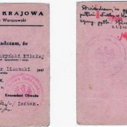 Powstańcza legitymacja Armii Krajowej por. Lisowskiego (zbiory Jerzego Lisowskiego)