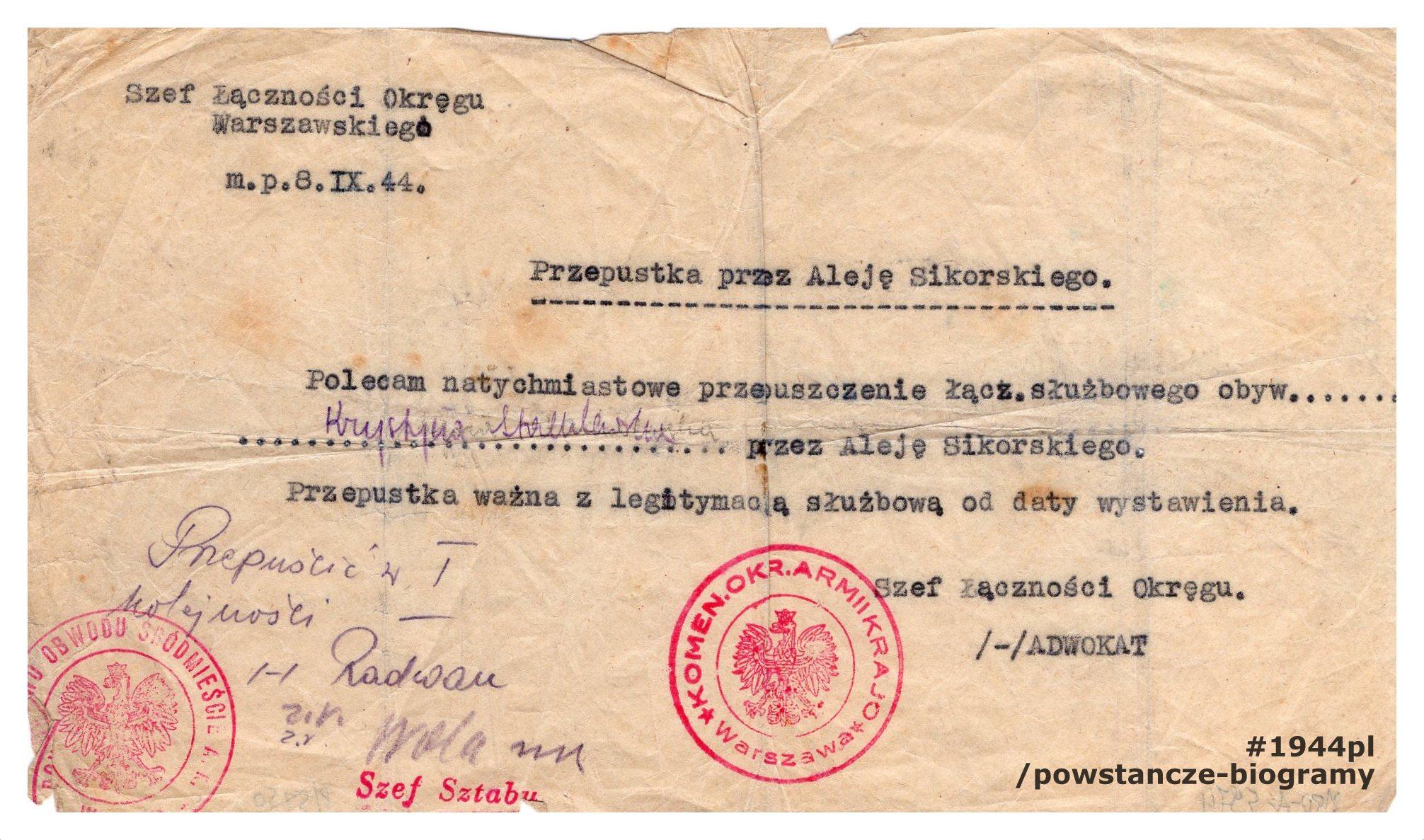 Przepustka przez Aleję Sikorskiego z poleceniem natychmiastowego przepuszczenia wystawiona dn. 08.09.1944 r. dla łączniczki Krystyny Stachlewskiej. Ze zbiorów Muzeum Powstania Warszawskiego, sygn. MPW-A-5974 (P/5750/07)