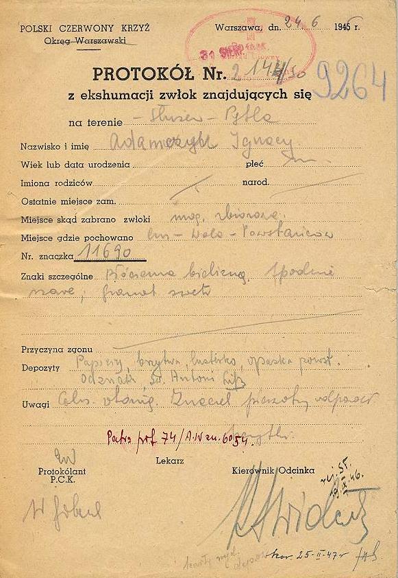 Polski Czerwony Krzyż - protokół ekshumacyjny