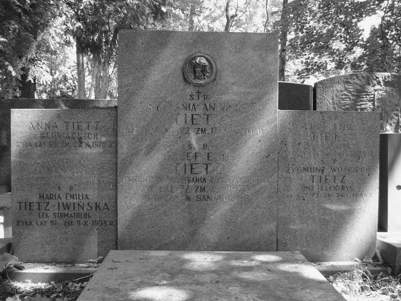 Cmentarz Powązkowski w Warszawie (Stare Powązki) - Tietzowie - grób rodzinny, kwatera 200, rząd 6, miejsce 15-16. Fot. udostępniła p. Beata Trzcińska
