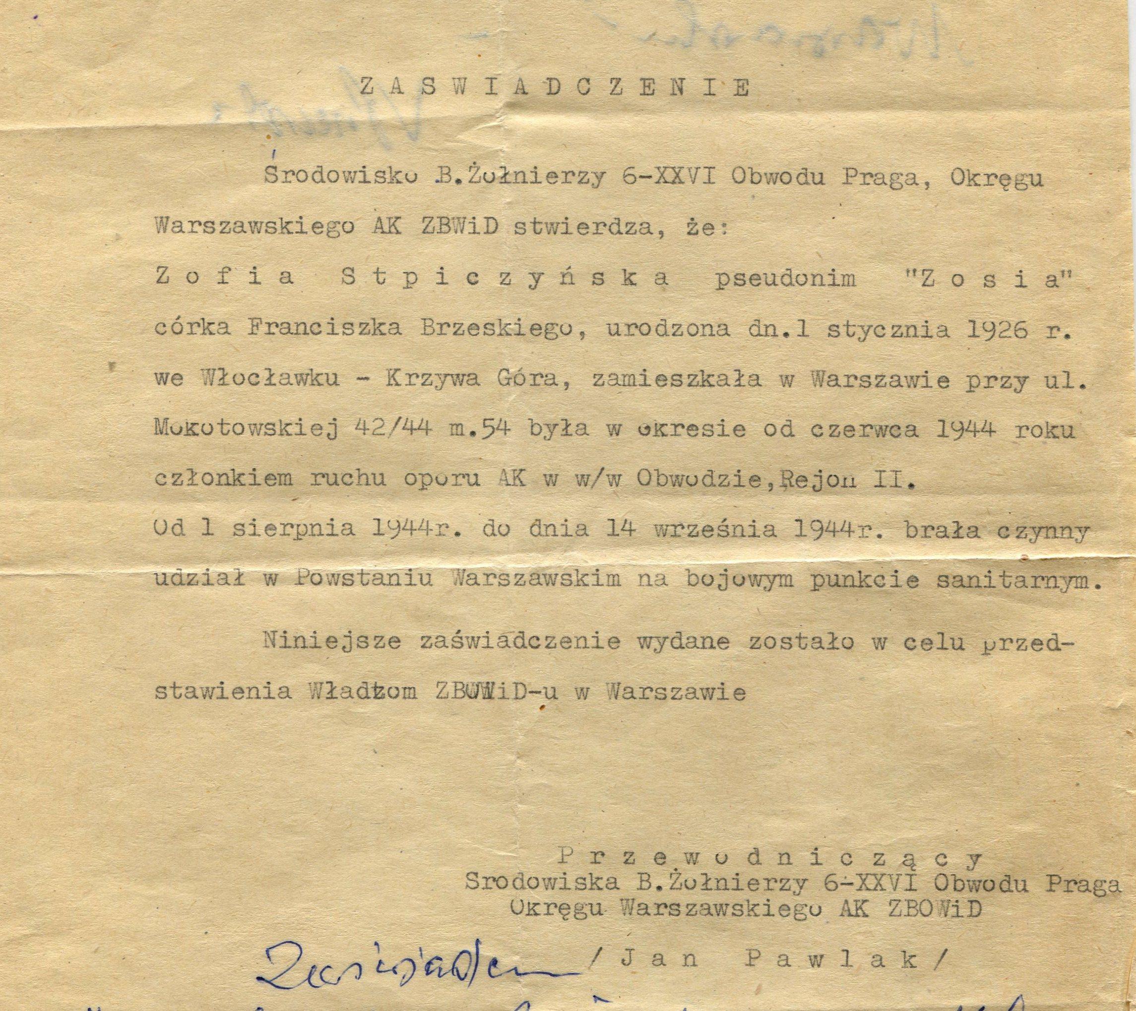 Źródło: MPW-teczka, dokument dostarczony w związku z uzupełnieniem materiałów dotyczących pani Aliny Marii Laskowskiej z domu Dołęgowskiej.