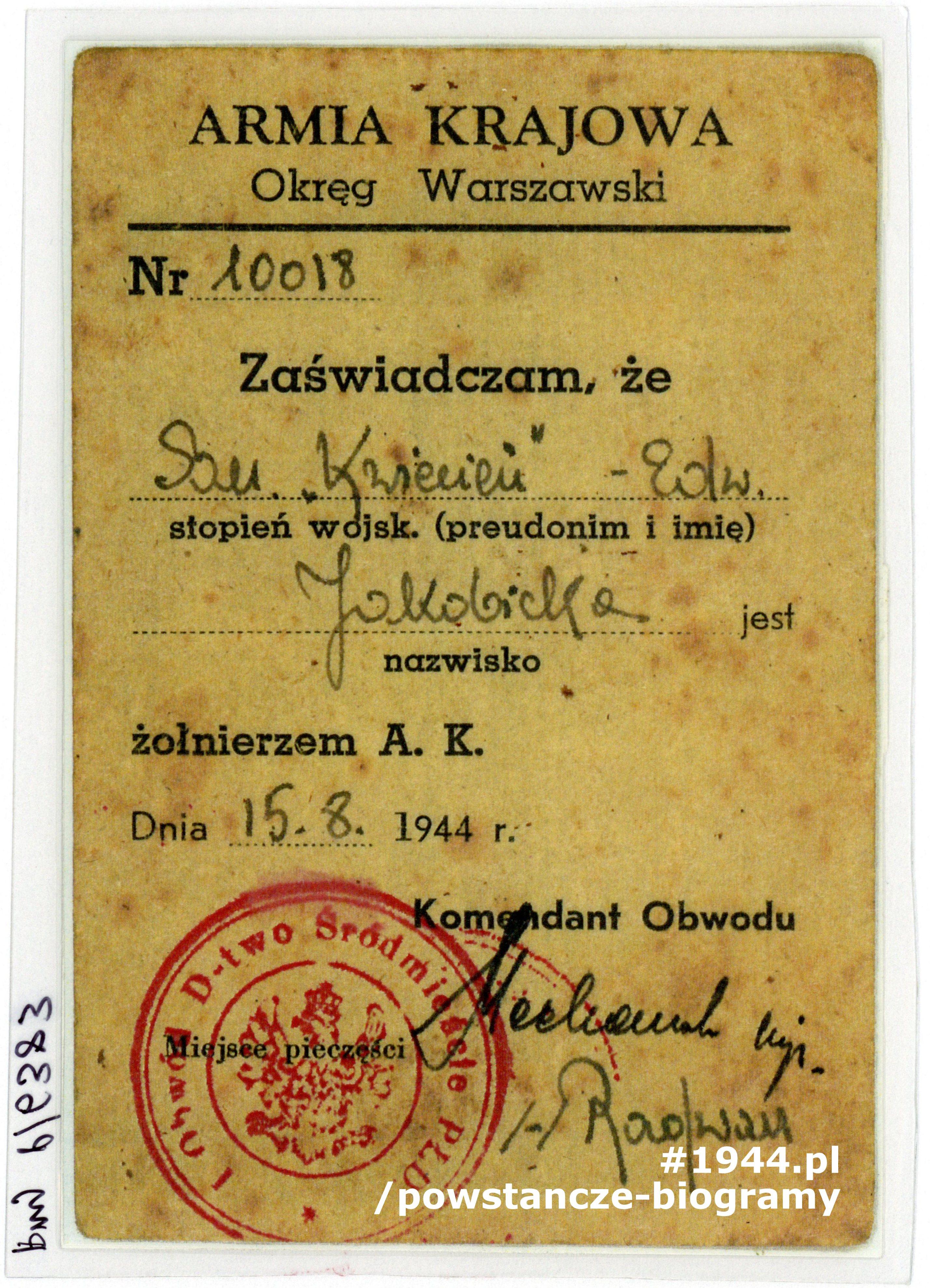 """Kopa legitymacji sanitariuszki Edwardy Jakobickiej """"Kwiecień"""". Ze zbiorów Muzeum Powstania Warszawskiego, przy P/6383"""