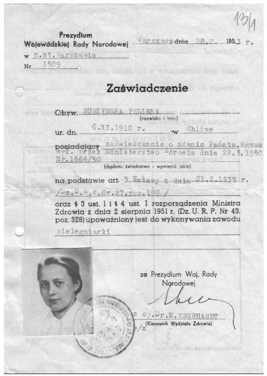 Zaświadczenie upoważniające do wykonywania zawodu pielęgniarki - 1953. Źródło: <i>www.wmpp.org.pl</i>