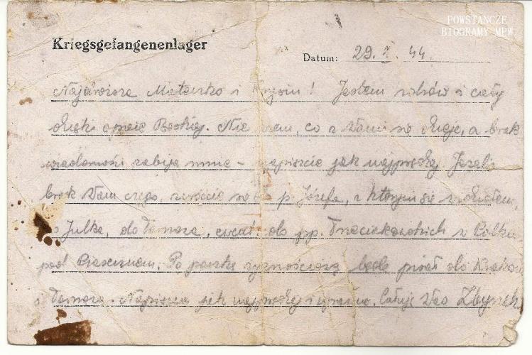 Korespondencja obozowa Zbigniewa wysłana ze Stalagu X B. Fot. z archiwum rodzinnego Zbigniewa Maciejewskiego
