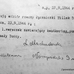 Pokwitowanie odbioru rzeczy zabitej, 25 IX 1944, podpisano: L. Machuderska. Fot.  udostępnione przez p. Jacka Sztejerwalda, <i>Powstanie Warszawskie - Batalion KB