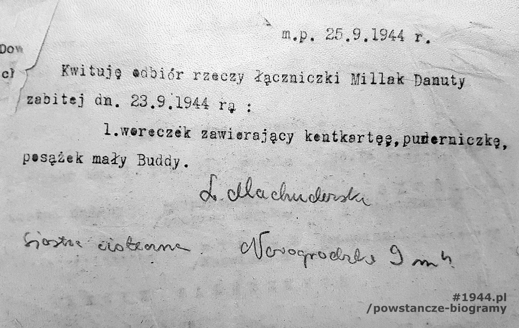 """Pokwitowanie odbioru rzeczy zabitej, 25 IX 1944, podpisano: L. Machuderska. Fot.  udostępnione przez p. Jacka Sztejerwalda, <i>Powstanie Warszawskie - Batalion KB """"Nałęcz""""</i>"""