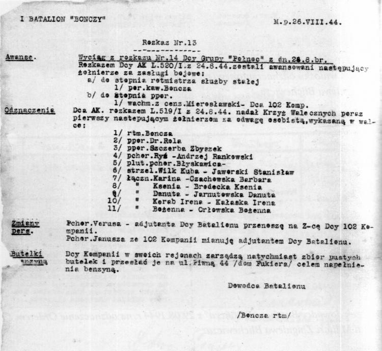 """Rozkaz dzienny baonu """"Bończa"""" z 26.VIII.1944 r. - Lista odznaczonych Krzyżem Walecznych, pozycja 8 - łączniczka """"Ksenia"""" Brodecka"""