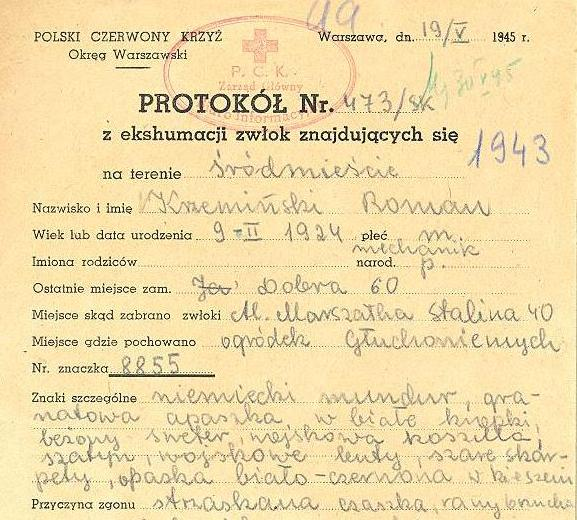 PCK - protokół z ekshumacji zwłok