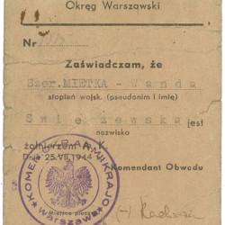 Legitymacja AK należąca do Wandy Świeżewskiej ps.
