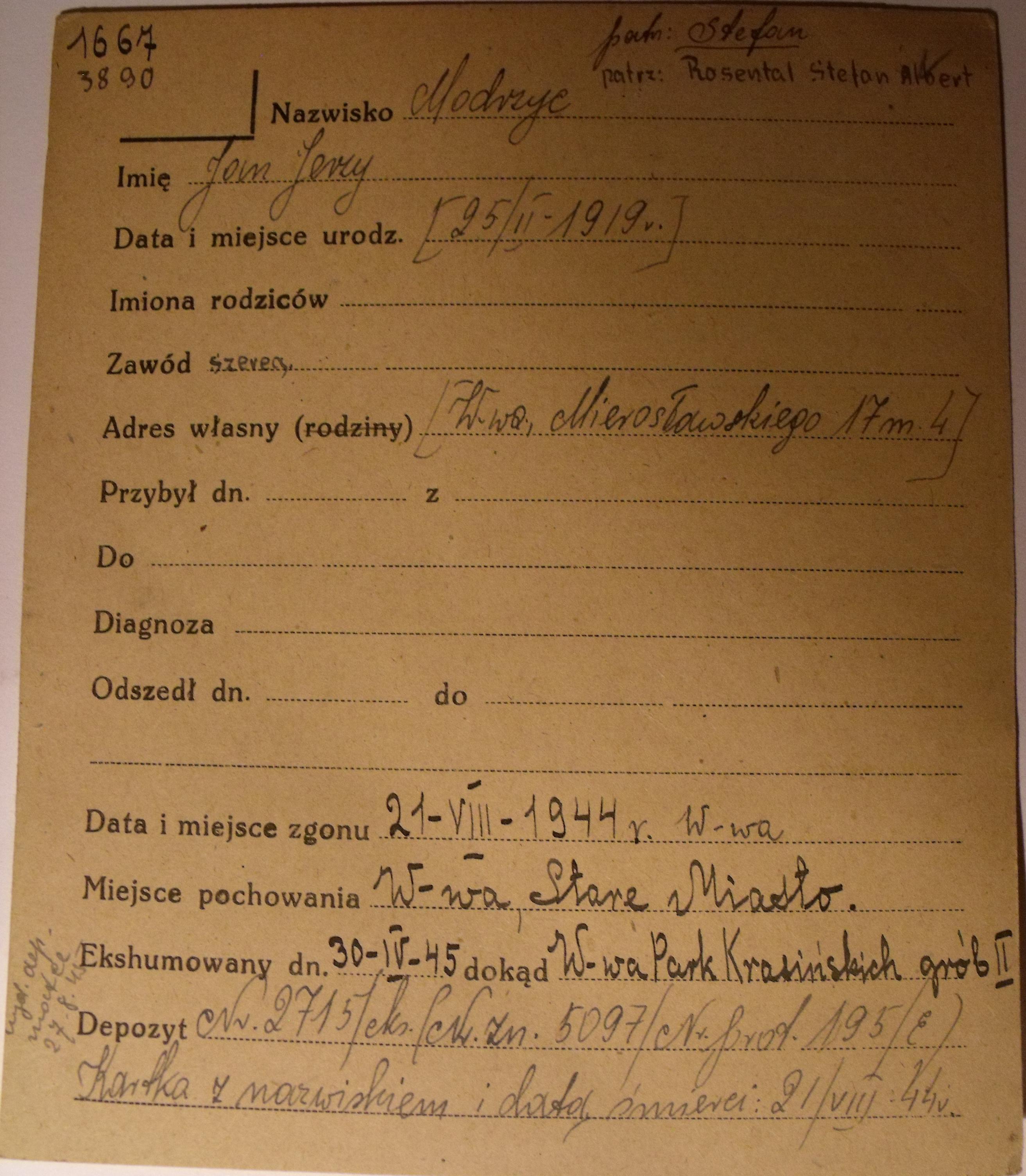 PCK - kartoteka, tu data ur. 25.02.1919 i nazwisko konspiracyjne Jan Jerzy Modrzyc