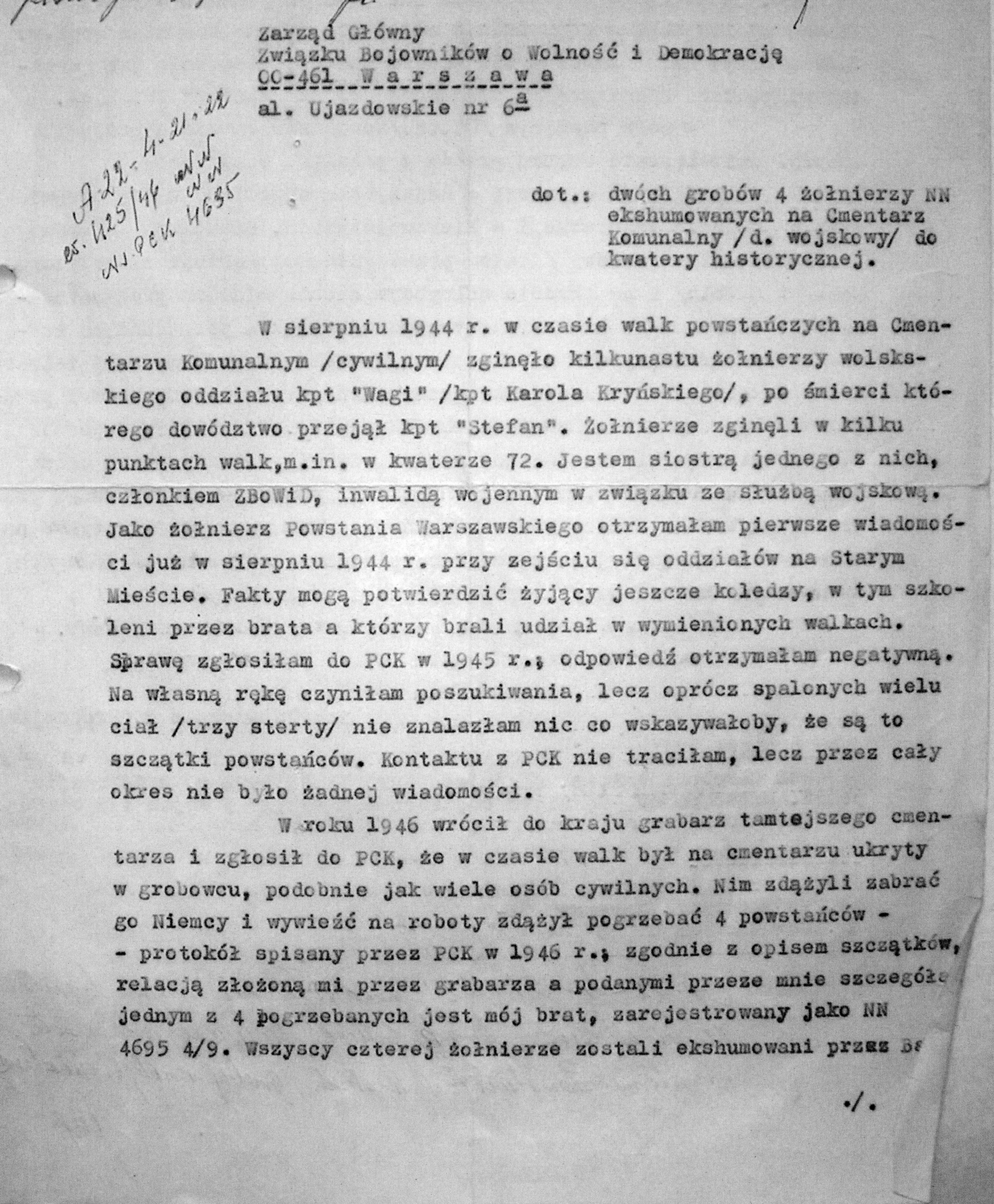 Powązki Wojskowe, Księga Pochowań nr ew. 1946/309 530