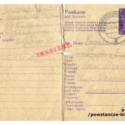 Uszkodzony list z obozu koncentracyjnego Flossenbürg napisany przed śmiercią przez Kazimierza Jagolińskiego ps.