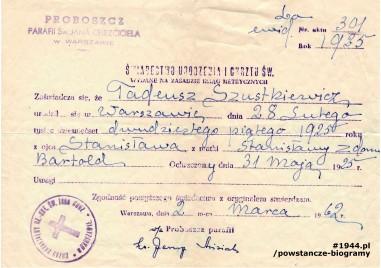 Powstańcze Biogramy Tadeusz Szustkiewicz